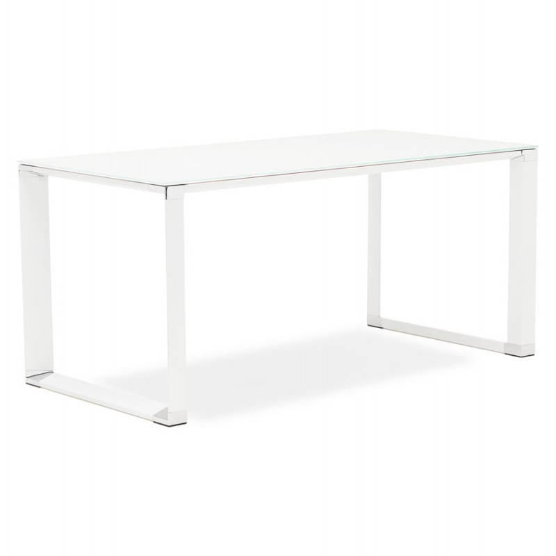 bureau droit design boin en verre tremp blanc. Black Bedroom Furniture Sets. Home Design Ideas