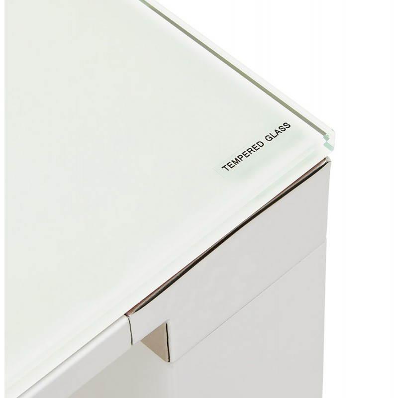 Bureau droit design BOIN en verre trempé (blanc) - image 26016