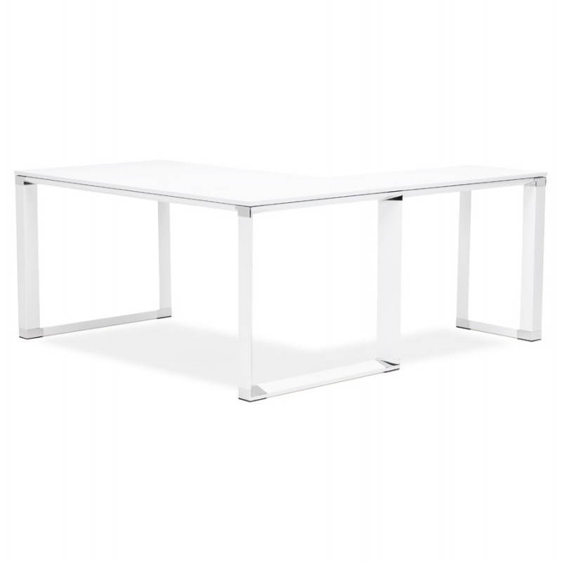 Bureau d 39 angle design corporate en bois blanc for Bureau d angle blanc