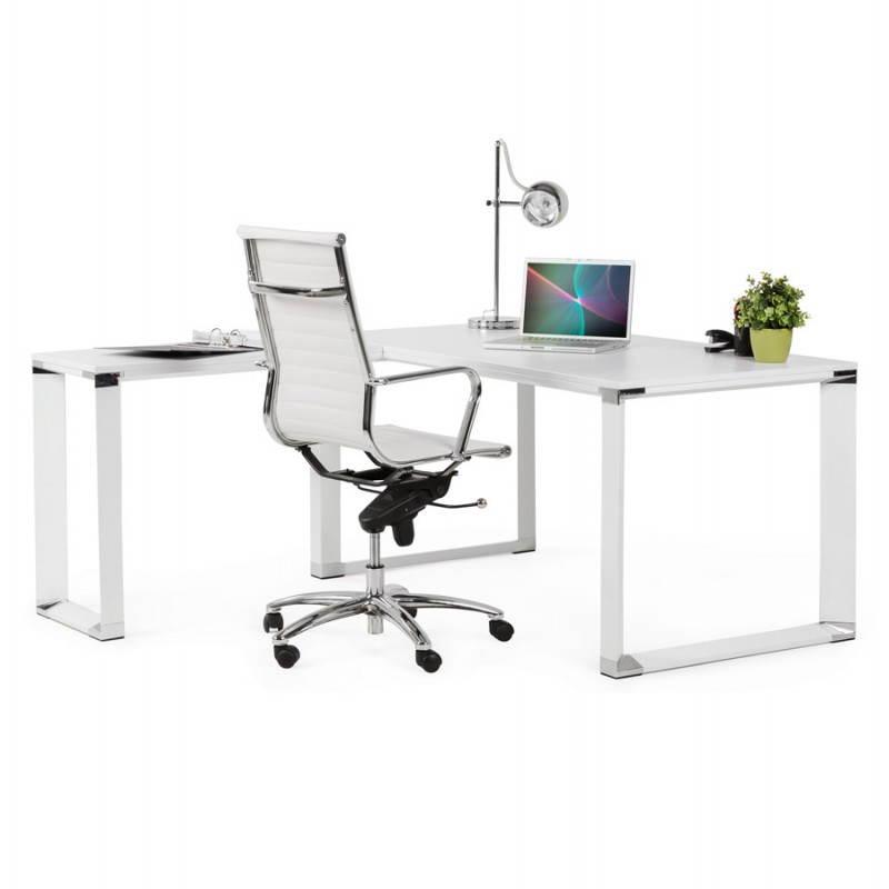 bureau d 39 angle design corporate en bois blanc. Black Bedroom Furniture Sets. Home Design Ideas