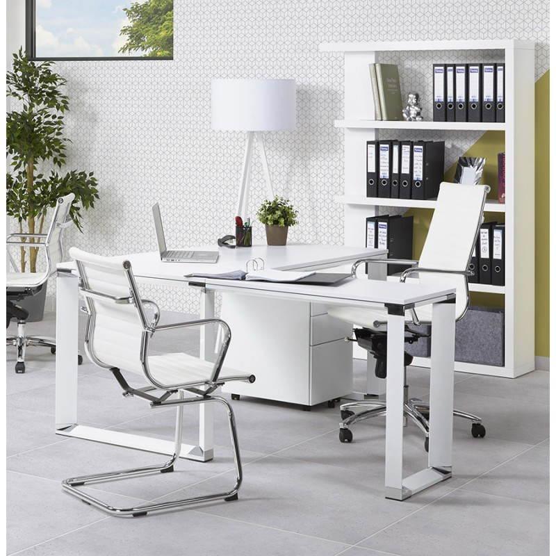 Bureau d 39 angle design corporate en bois blanc for Bureau blanc design contemporain