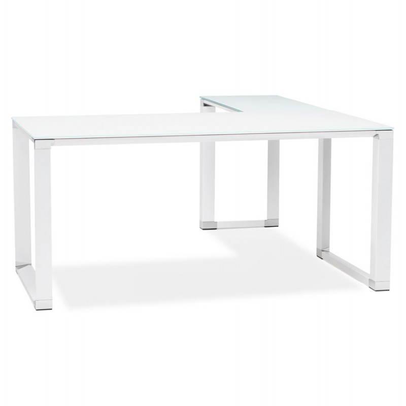 Bureau d'angle design MASTER en verre trempé (blanc)