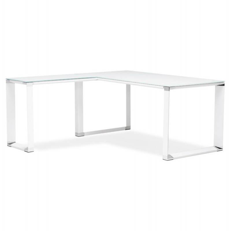 Bureau d'angle design MASTER en verre trempé (blanc) - image 26095
