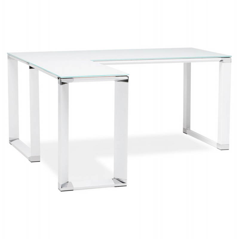Bureau d'angle design MASTER en verre trempé (blanc) - image 26101