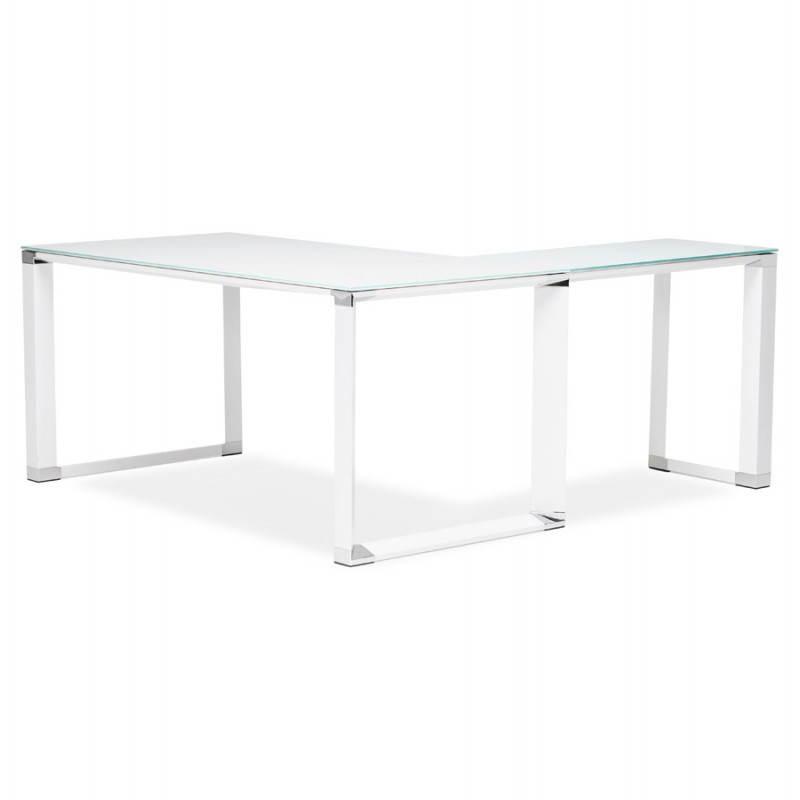 bureau d 39 angle design master en verre tremp blanc. Black Bedroom Furniture Sets. Home Design Ideas