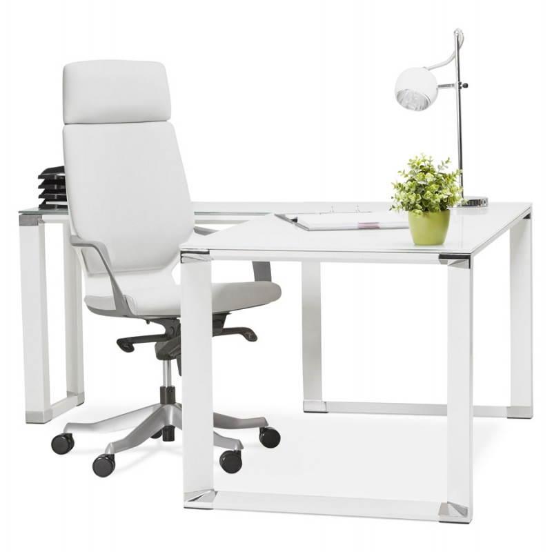 Bureau d'angle design MASTER en verre trempé (blanc) - image 26122