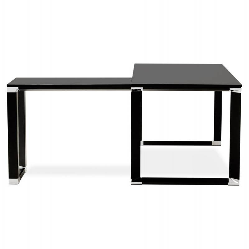 Bureau d 39 angle design corporate en bois noir for Bureau en angle