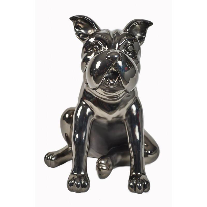 Statuette sculpture d corative design chien en r sine gris fonc canon de f - Statuette deco design ...