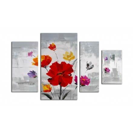 Tableau peinture florale COSMOS