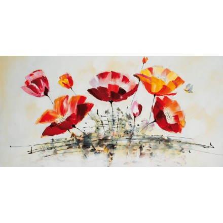 Cuadro pintura floral clavel