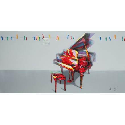 Tabella di pittura figurativa contemporanea pianoforte