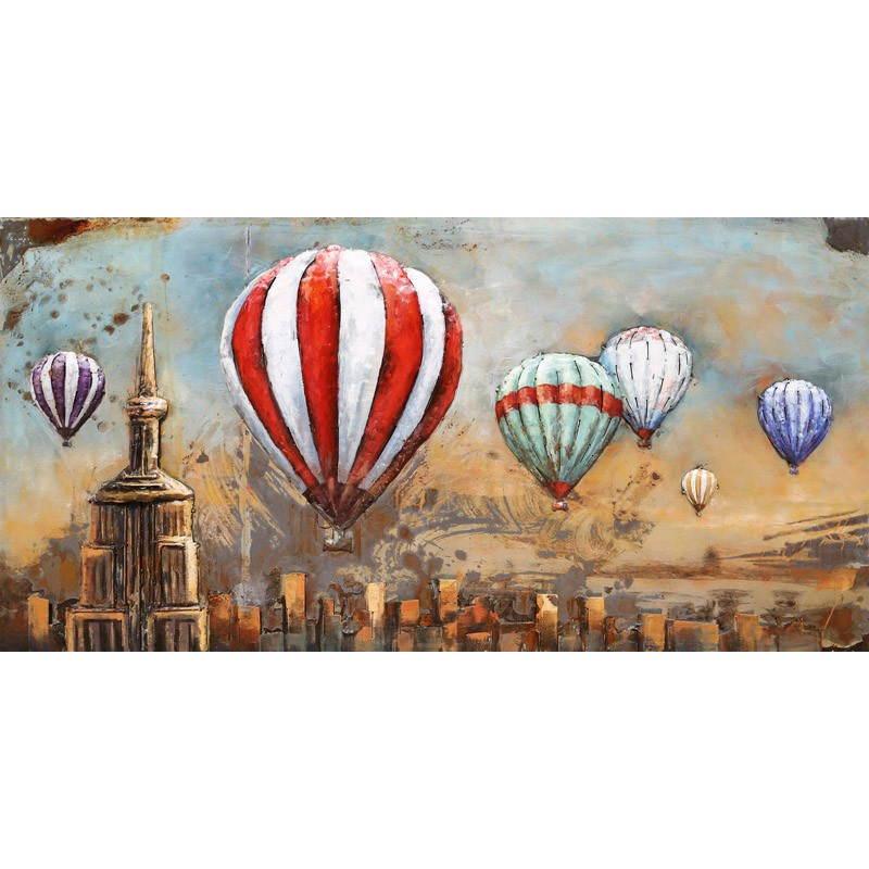Tableau peinture support métal MONGOLFIERE  - image 26515