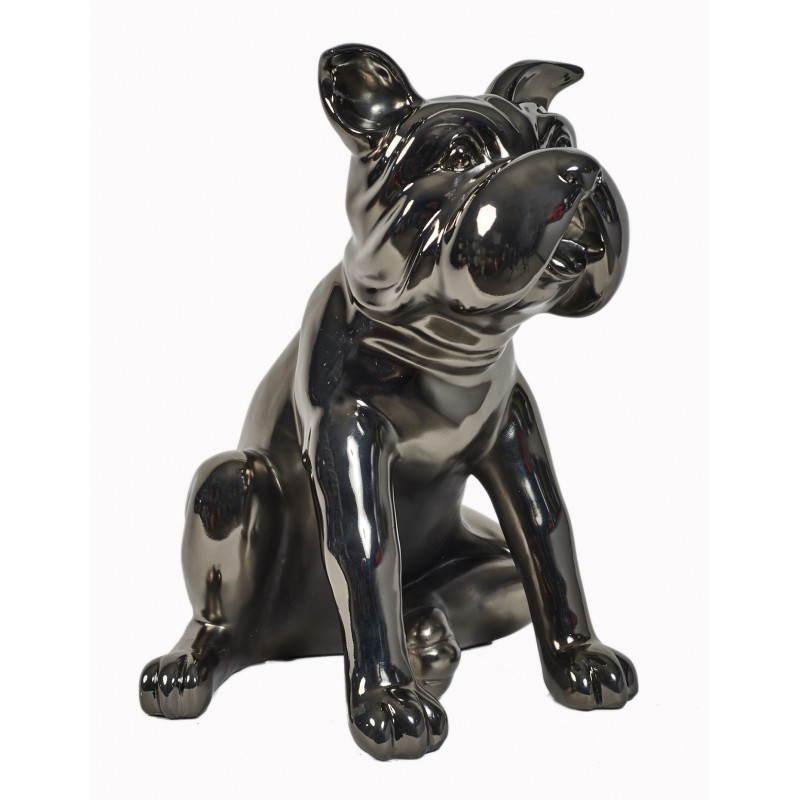 Statuette sculpture décorative design CHIEN en résine (gris foncé, canon de fusil) - image 26733