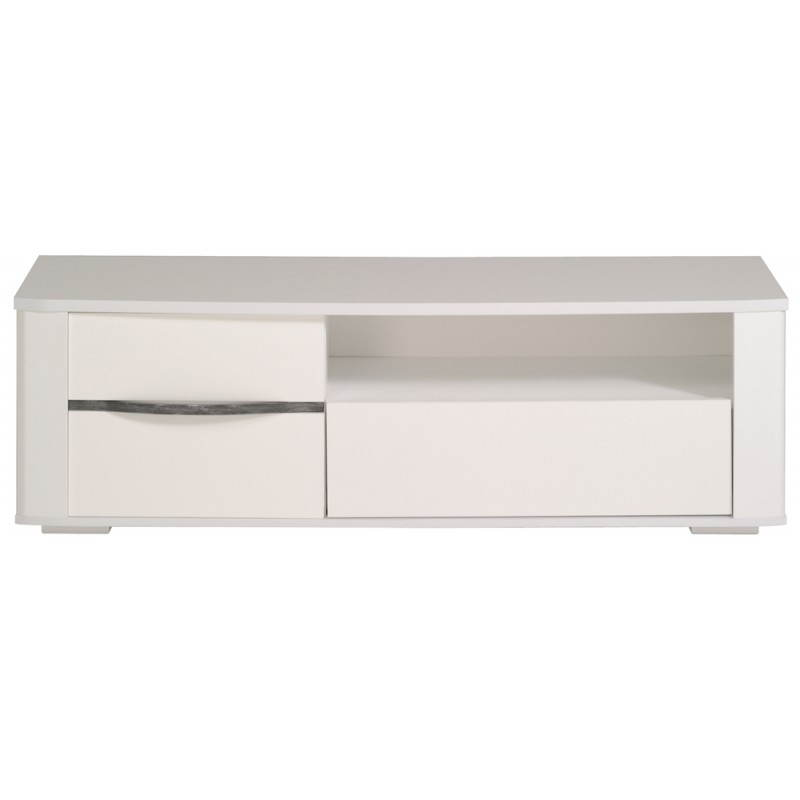 Meuble bas tv design picpus blanc meg ve blanc brillant for Meuble bas tv blanc