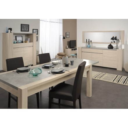 Table à manger design industriel avec 2 rallonges GAILLON (chêne, béton clair)