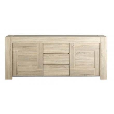 Design a buffet perline 2 porte, 3 cassetti AUTEUIL (rovere grezzo, cemento)
