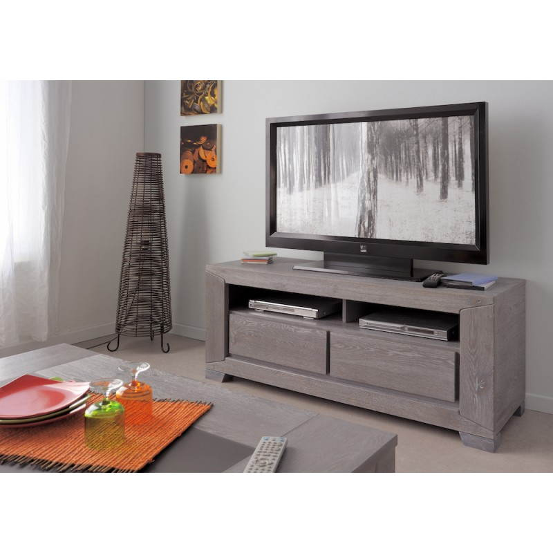 Meuble tv design bercy d cor ch ne gris - Meuble decoration design ...