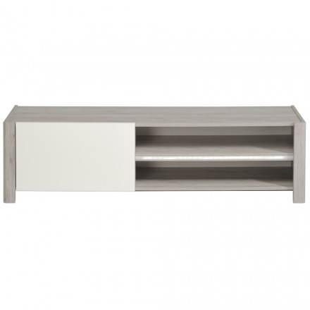 Meuble TV design CHAILLOT décor chêne (gris clair, blanc brillant)