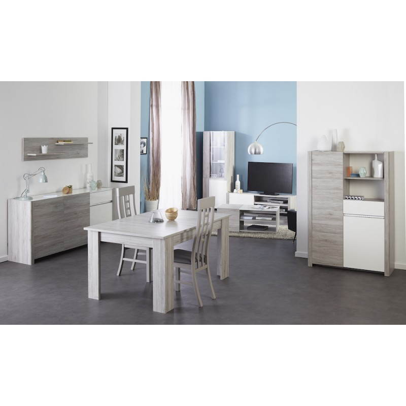 Meuble tv design chaillot d cor ch ne gris clair blanc for Meuble tv bas gris