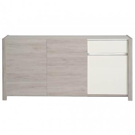 A buffet rotonde 3 porte design rovere CHAILLOT arredamento (grigio chiaro, bianco lucido)