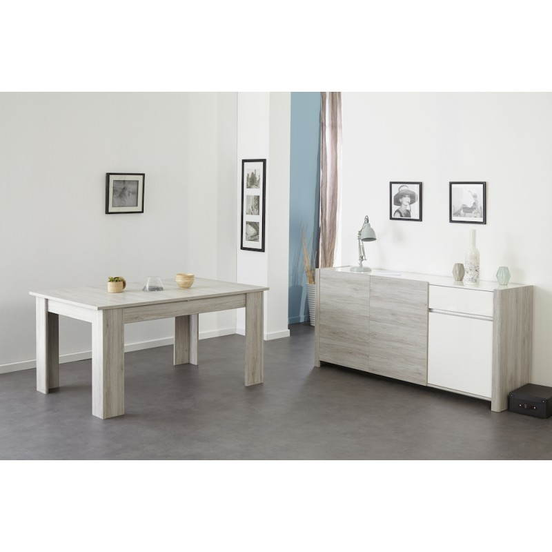 Table manger extensible design chaillot d cor ch ne for Table extensible gris clair
