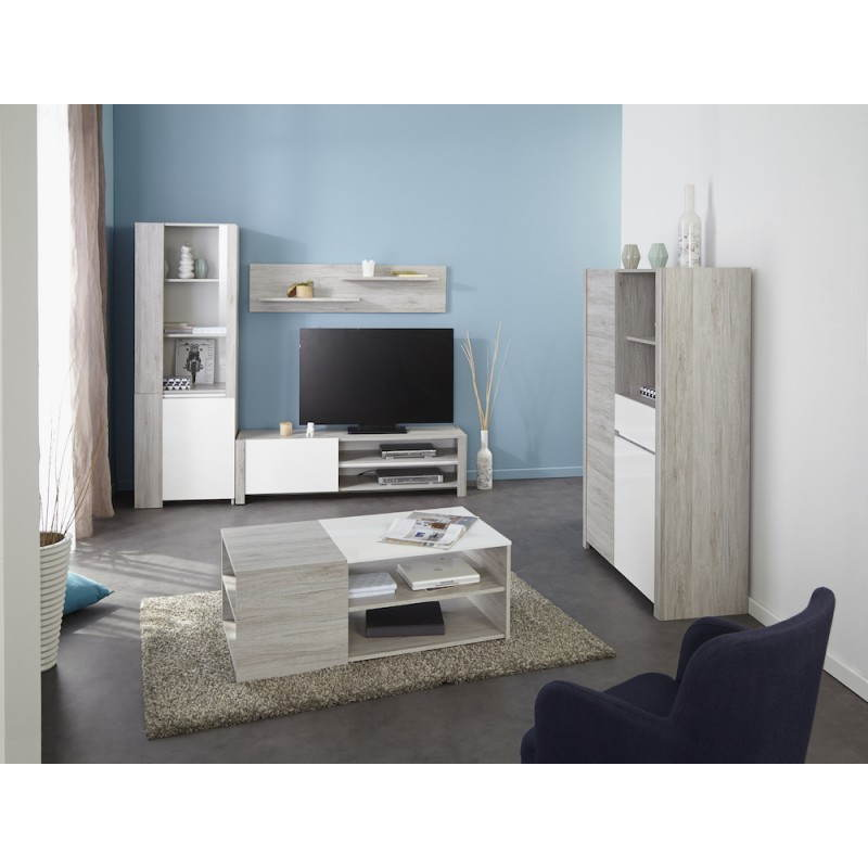 Bahut buffet haut design chaillot d cor ch ne gris clair - Photo meuble salon ...