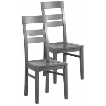 Lot de 2 chaises BERCY en chêne massif (gris)