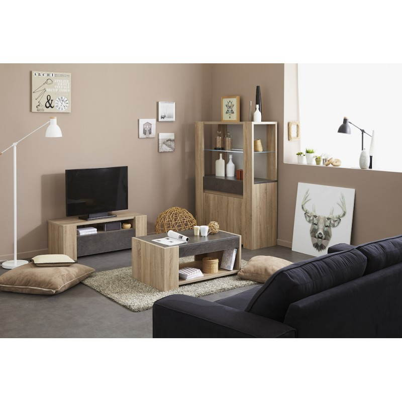Meuble bas tv design firmin d cor ch ne brut beige b ton for Meuble tv beige