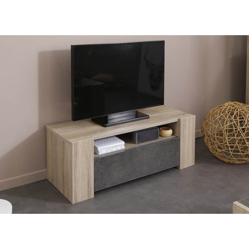 low design tv firmin decor raw oak beige dark concrete. Black Bedroom Furniture Sets. Home Design Ideas
