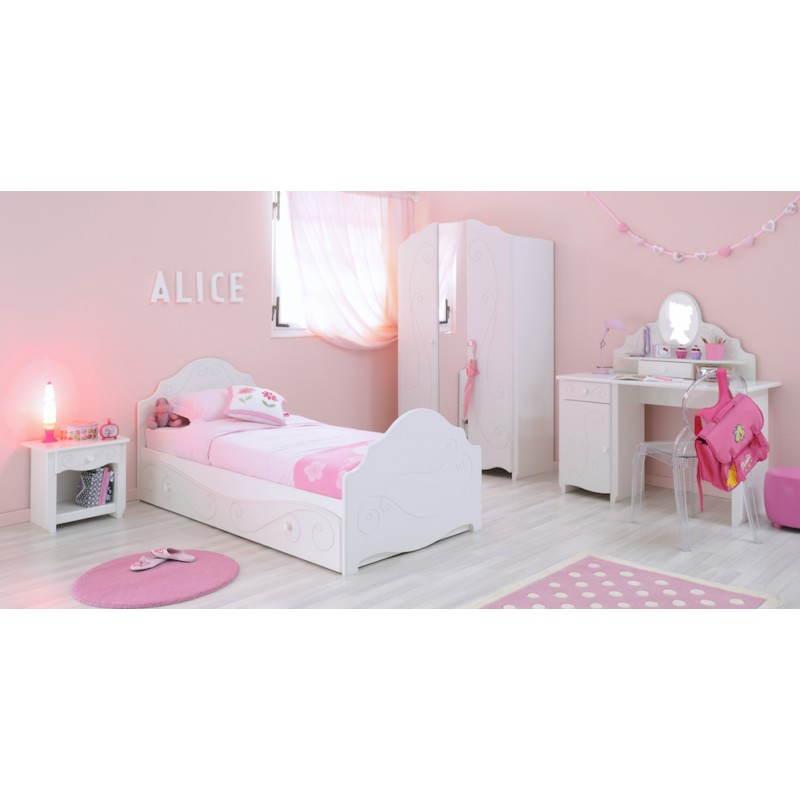 armoire fille 2 portes style romantique altesse blanc. Black Bedroom Furniture Sets. Home Design Ideas