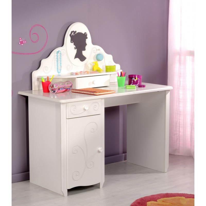 Bureau fille style romantique altesse blanc for Bureau chambre blanc