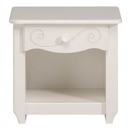 Bedside daughter 1 drawer romantic style Highness (white)