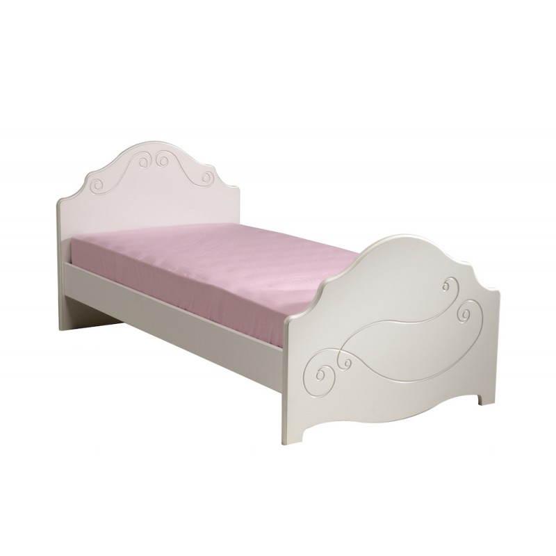 lit junior fille 90x190 cm style romantique altesse blanc. Black Bedroom Furniture Sets. Home Design Ideas