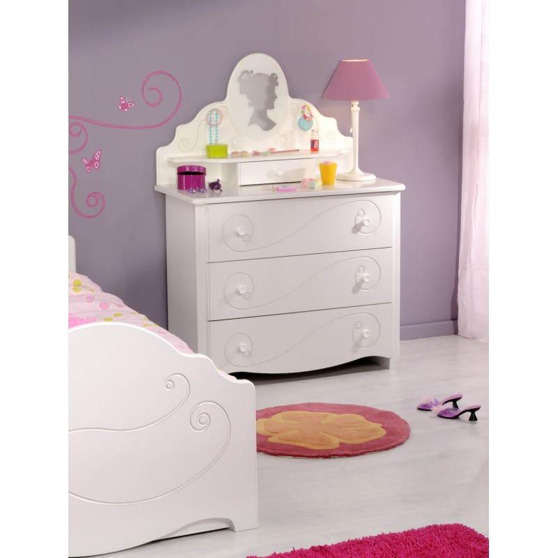 Coiffeuse fille 1 miroir style romantique altesse blanc - Bureau style romantique blanc ...