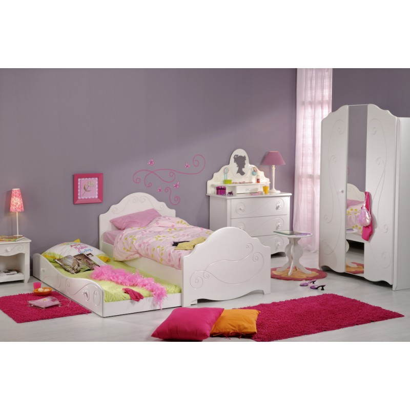 tiroir lit fille 90x200 cm style romantique altesse blanc. Black Bedroom Furniture Sets. Home Design Ideas