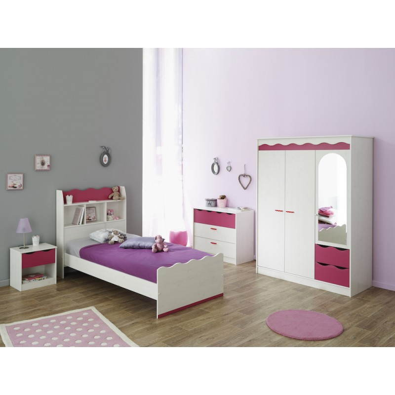 lit fille 90x190 style romantique cloe blanc rose. Black Bedroom Furniture Sets. Home Design Ideas