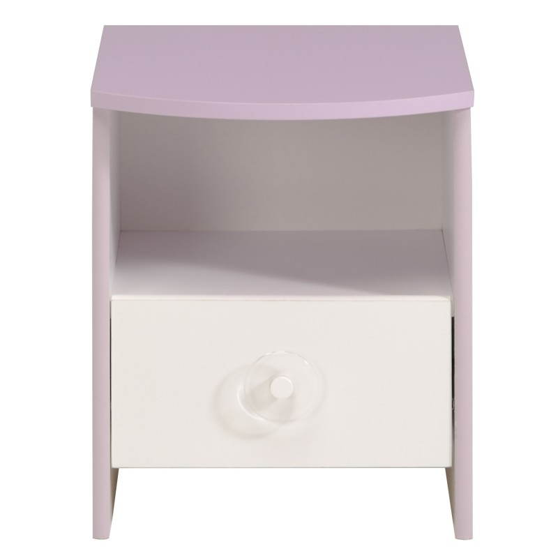chevet fille 1 tiroir style romantique flores blanc lilas. Black Bedroom Furniture Sets. Home Design Ideas