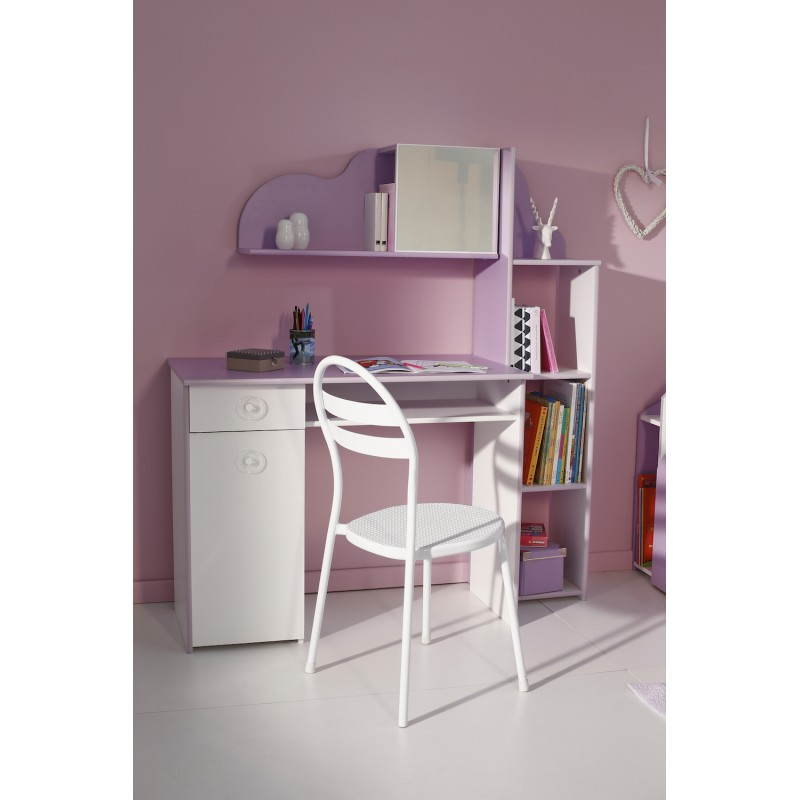 bureau fille style romantique flores blanc lilas. Black Bedroom Furniture Sets. Home Design Ideas