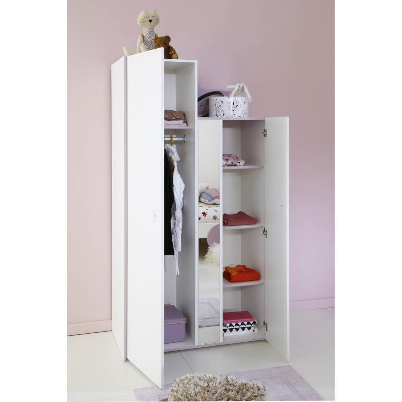 armoire fille 2 portes style romantique flores blanc lilas. Black Bedroom Furniture Sets. Home Design Ideas