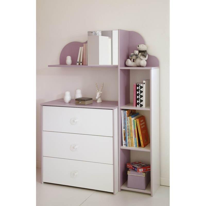 colonne de rangement fille 3 tag res style romantique flores blanc lilas. Black Bedroom Furniture Sets. Home Design Ideas