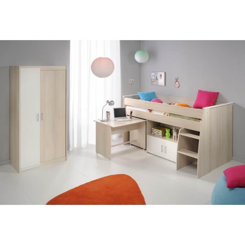 lit combin sur lev design 90x200 cm junior fille gar on. Black Bedroom Furniture Sets. Home Design Ideas
