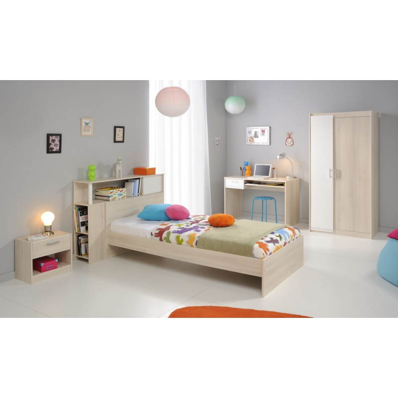 Lit design 90x190 cm junior fille gar on alex beige fr ne - Chambre junior garcon ...