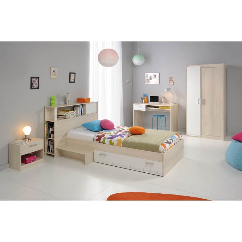 Lit design avec tiroir 90x200 cm junior fille gar on alex blanc beige fr ne - Chambre junior garcon ...