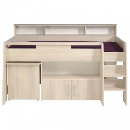 Bed raised combined with office junior girl boy design SACHA (beige, clear acacia)