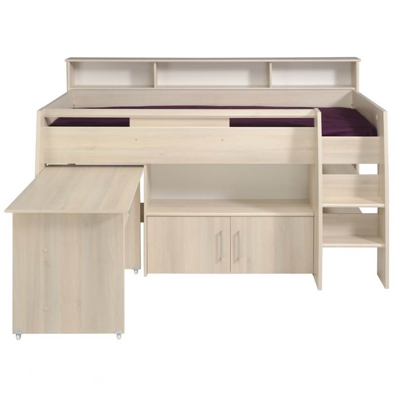 lit sur lev combin avec bureau junior fille gar on design sacha beige acacia clair. Black Bedroom Furniture Sets. Home Design Ideas