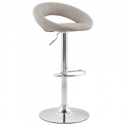 Contemporary round adjustable bar stool IRIS (light gray)