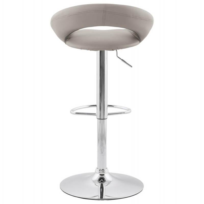 Tabouret de bar rond contemporain rotatif et réglable IRIS (gris clair) - image 27494