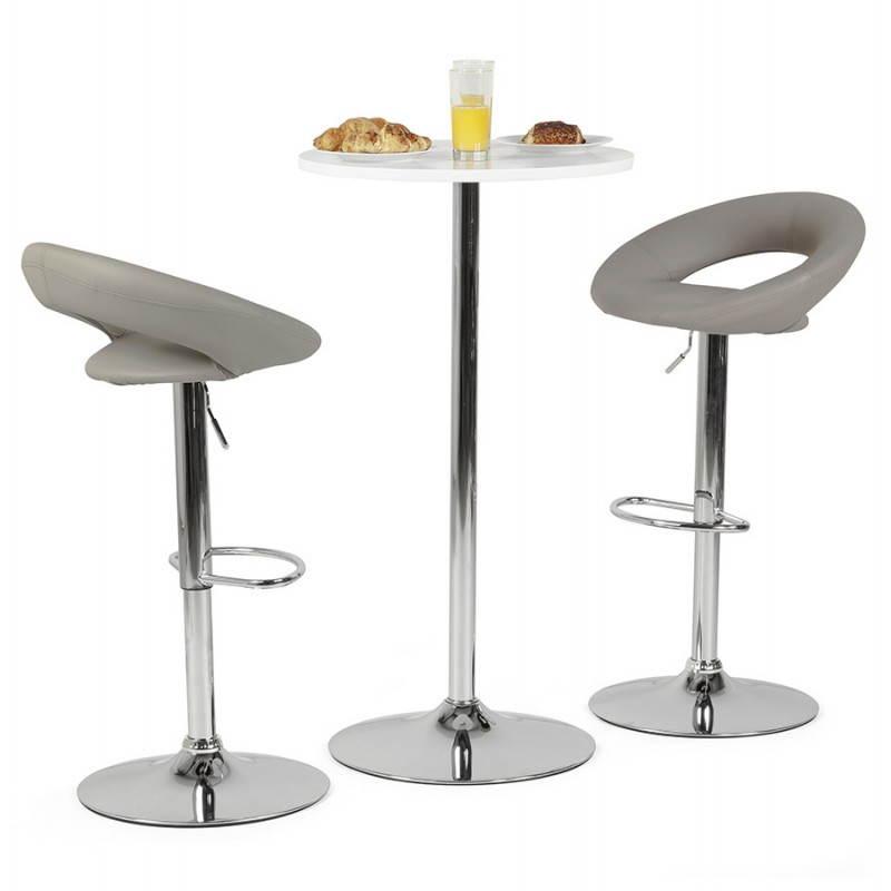 Tabouret de bar rond contemporain rotatif et réglable IRIS (gris clair) - image 27506