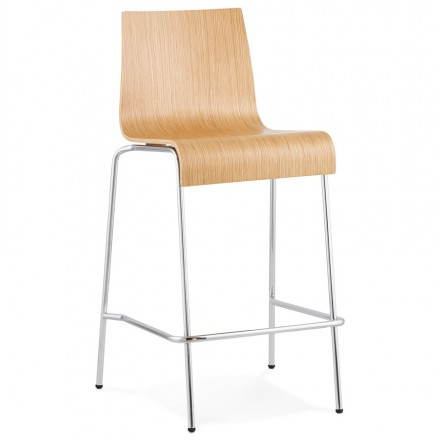 Design barstool SAÔNE MINI in timber and chrome metal (natural)