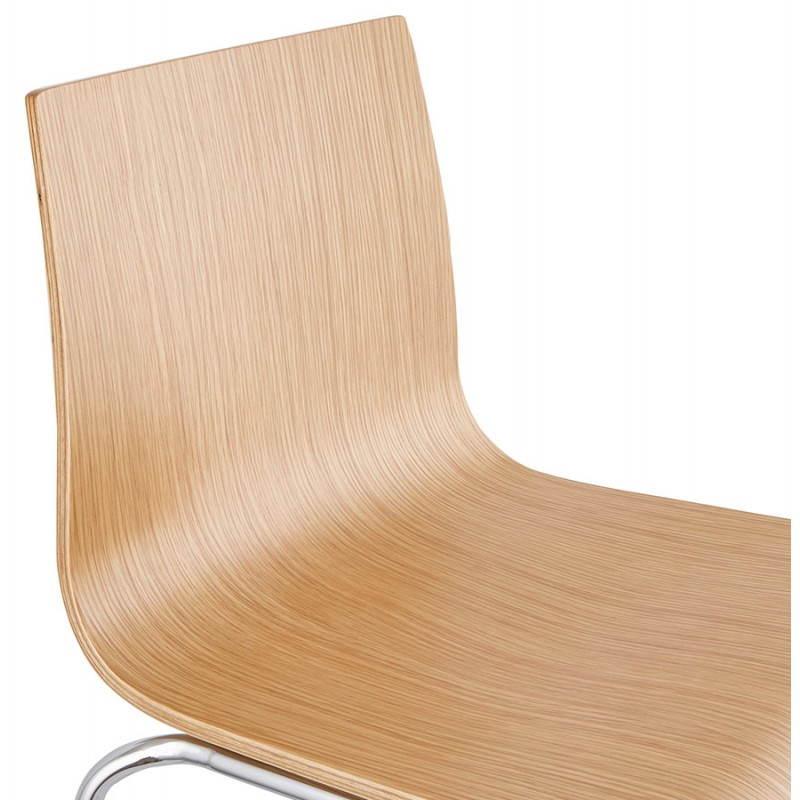 Tabouret de bar design mi-hauteur SAONE MINI en bois et métal chromé (naturel) - image 27529